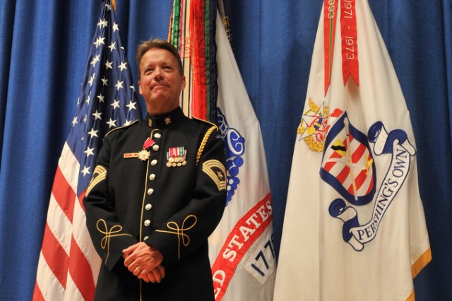 """Sgt. Maj. Woodrow """"Woody"""" English, the Army Band's Senior Trumpet Soloist and Special Bugler, retires after 34 years of service at Ft. Myer, Thursday, August 19."""