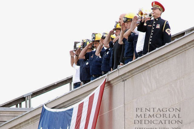 "Sgt. Maj. English performing Taps atop the Pentagon at the 2008 Pentagon Memorial Dedication Ceremony.  Sgt. Maj. Woodrow ""Woody"" English, the Army Band's Senior Trumpet Soloist and Special Bugler, retired after 34 years of service at Ft. Myers, Thursday, August 19."