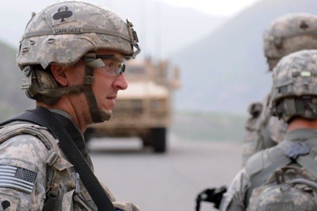 KUNAR PROVINCE, Afghanistan - U.S. Army Spc. Nicholas J. Renfrow of Marina, Calif., a medic with Company A, 2nd Battalion, 327th Infantry Regiment, Task Force No Slack, prepares to move into the village of Spinkay in eastern Afghanistan's Kunar province prior to his unit being attacked Aug. 18. One U.S. Army Soldier was wounded during the insurgent attack, which included the use of mortars, small arms fire and rocket-propelled grenades against International Security Assistance and Afghan National Security Forces. (Photo by U.S. Army Staff Sgt. Gary A. Witte, 300th Mobile Public Affairs Detachment)