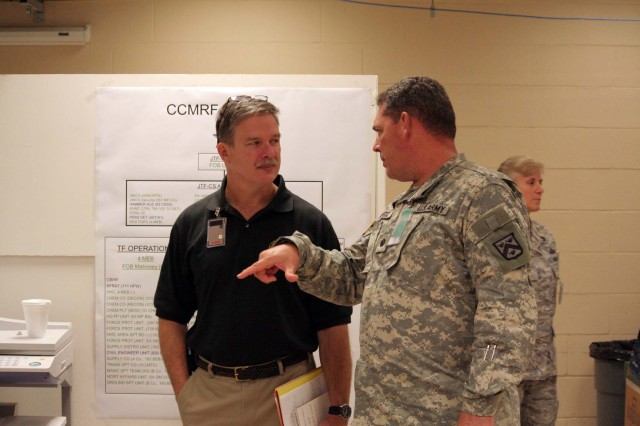 Chief of Staff for Joint Task Force Civil Support, Mr. Michael Collins and Lt. Col. Mike Frantz, chief observer/trainer, OPSGRP Alpha discuss recent actions of the task force at the Battle Command Training Center during the command post exercise for Joint Task Force Civil Support in Ft. Leavenworth, Kansas on August 18.