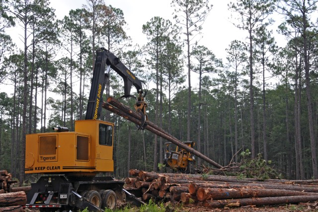 "Felled trees are picked up one or two at a time by a ""knuckle boom loader,"" which is able to remove limbs and cut the trees to the desired, minimum girth as part of the Fort Stewart-Hunter Army Airfield forestry branch timber program."