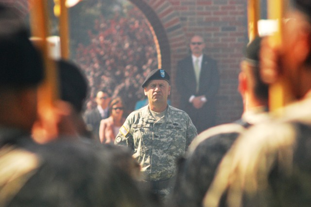 Col. Stanley Wolosz, Surface Deployment and Distribution Command chief of staff, commands troops during the SDDC change of command ceremony Aug. 25 on Scott Air Force Base, Ill.