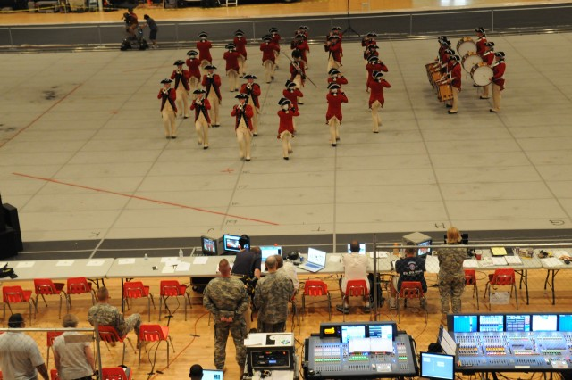 The U.S. Army Old Guard Fife and Drum Corps performs during a dress rehearsal for Spirit of America at the D.C. Armory Aug. 26, 2010.