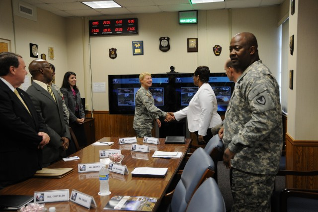 Gen. Dunwoody's first stop at USASAC was the commander's conference room where she met with the Command Group and received a short command brief.