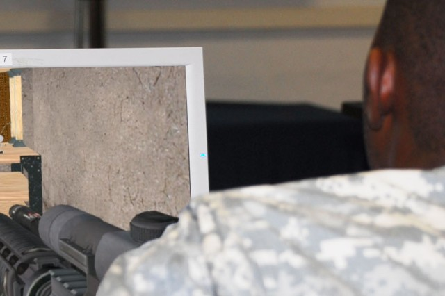 A Soldier plays the newly implemented Military Intelligence Game, Version 3, at Fort Huachuca. The game, which is a team exercise consisting of five Soldier participants, is designed to be played for 60-90 minutes.