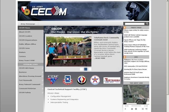 CECOM Homepage screenshot. May be found at http://cecom.army.mil.