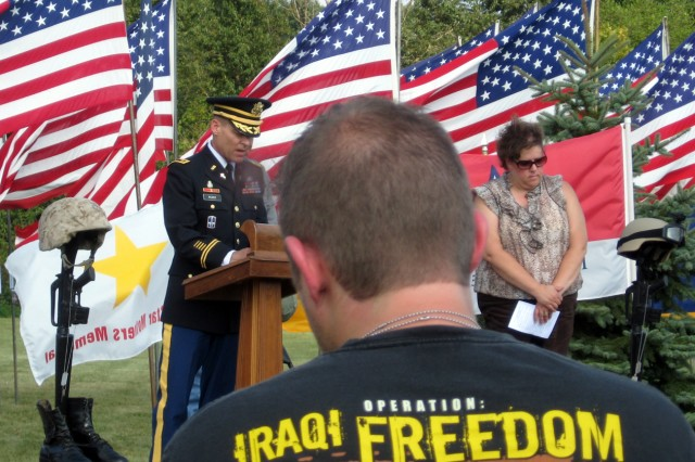 """Army Sustainment Command Chaplain (Maj.) Charles B. Rizer, Jr. gave the benediction at the Davenport, Iowa, All-Era Veterans Healing Field opening and closing ceremonies.  During the Aug. 29 closing ceremony, Chaplain Rizer prayed, """"Thank you, Lord, that this weekend, these earthly grounds have been a hallowed place."""""""