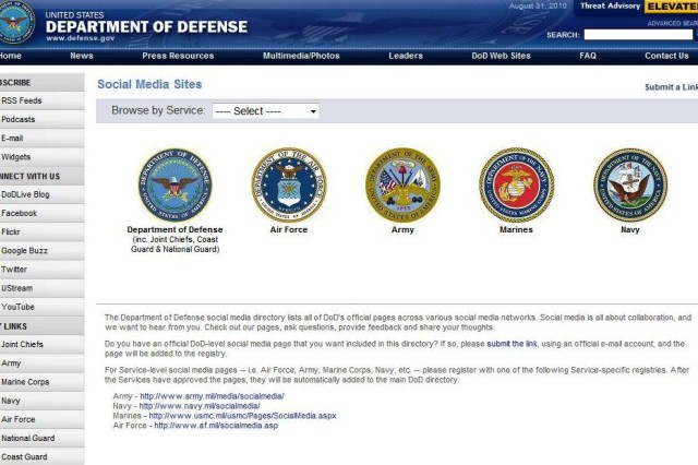 DoD Social Media Sites Registry