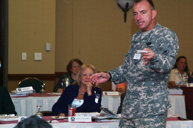 "Col. Danny Tilzey, the ""Mighty"" 407th Army Field Support Brigade commander, illustrates the complexity of the Directorates of Logistics using a deck of cards during the DOL rehearsal of concept drill. The conference took place Aug. 24-26 at the Radisson Quad City Plaza, Davenport, Iowa. The Army Materiel Command will take operational control of the DOLs located in the United States on Oct. 1. The Army Sustainment Command, through its Army Field Support Brigades, will manage the DOLs. Resource and personnel transfer of the DOLs is scheduled for Oct. 1, 2011."