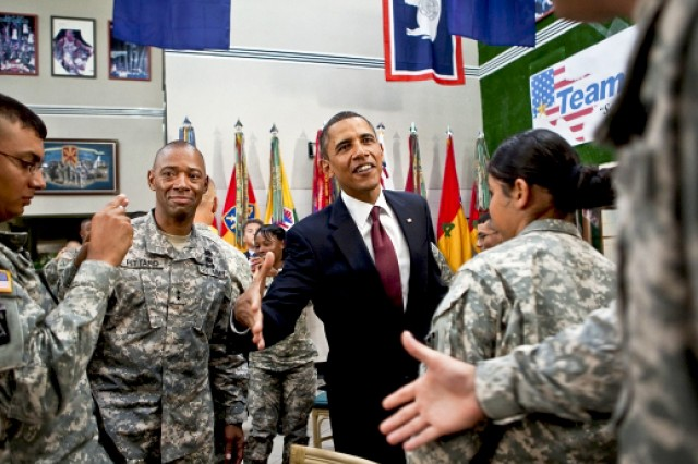 President Barack Obama shakes hands with Soldiers on Fort Bliss in El Paso, Texas, Aug., 31, 2010. Obama visited the post to thank all troops for contributions that led to the official end of combat operations in Iraq.