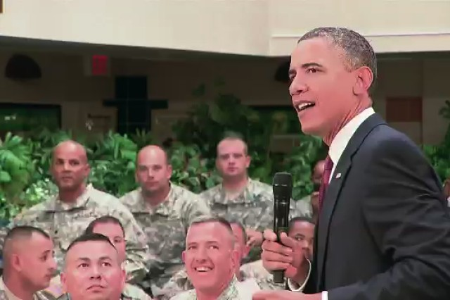 President Obama addresses troops at Fort Bliss