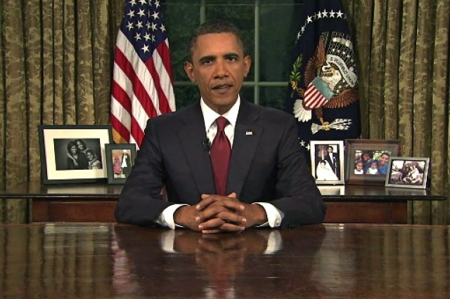 President Barack Obama delivers an address to the nation on the end of the combat mission in Iraq from the Oval Office, Aug. 31, 2010.