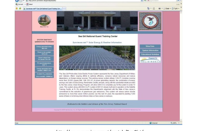 The Sunviewer website lets the public view the Sea Girt carport solar power structure. The site provides visual and factual information on how the project works, the energy it's producing and the emissions it's saving.
