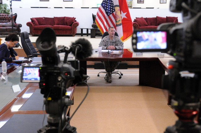 Brig. Gen. Ralph O. Baker, deputy commanding general-east for United States Division - Center, talks about progress in Iraq and Operation New Dawn as part of a press conference Aug. 30 at USD-C headquarters at Camp Liberty, Iraq.