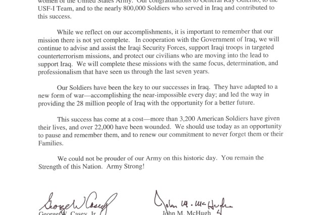 An open letter from the Secretary of the Army and the Chief of Staff of the Army to the Troops regarding the end of Operation Iraqi Freedom.