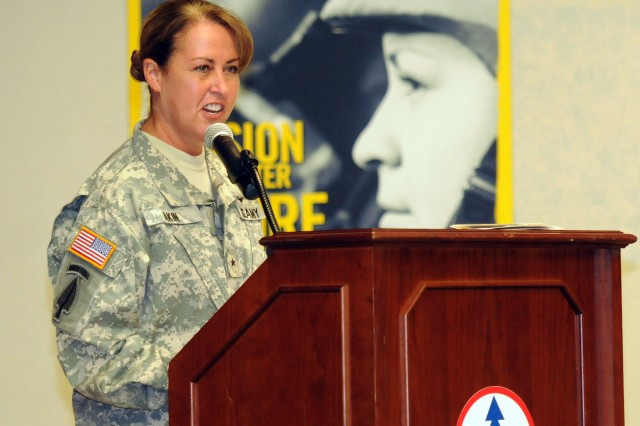 Brig. Gen. Robin B. Akin, the 3d Sustainment Command (Expeditionary) commanding general, was the guest speaker for Fort Knox's Women's Equality Day Celebration on Aug. 27, at the Patton Museum's Abrams Auditorium. Akin, one of only 22 female general officers, spoke of women's roles and importance to the military in which we serve today. (U.S. Army photo by Sgt. Michael Behlin)