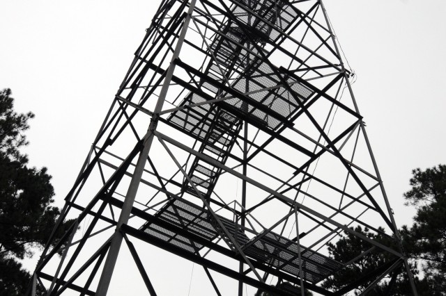 This 100-foot tower is one of five fire towers used by Stewart-Hunter's Forestry Branch for wildfire detection.