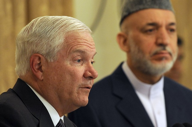 U.S. Defense Secretary Robert M. Gates comments to the press during a joint press conference with Afghan President Hamid Karzai at the Presidential Palace in Kabul, Afghanistan, Sept. 2, 2010.