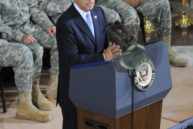 Vice President Joe Biden speaks to the audience at the United States Forces-Iraq change of command ceremony Sept. 1. Gen Lloyd J. Austin III relieved Gen. Ray Odierno as the commander of USF-I on the same day that marked the beginning of Operation New Dawn and the official transition to stability operations. (U.S. Army Photo by Sgt. 1st Class Roger M. Dey)(Released)