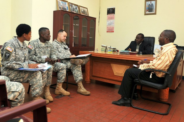 Lt. Col Todd Johnston, ,MEDFLAG 10 task force commander for U.S. forces, meets with Col. Gilbert Kabanda, the Armed Forces of the Democratic Republic of Congo surgeon general, Sept. 3 in Kinshasa, Democratic Republic of Congo to finalize plans for the upcoming exercise. MEDFLAG 10 is an exercise focused on humanitarian assistance that will take place Sept. 6-18 in Kinshasa.