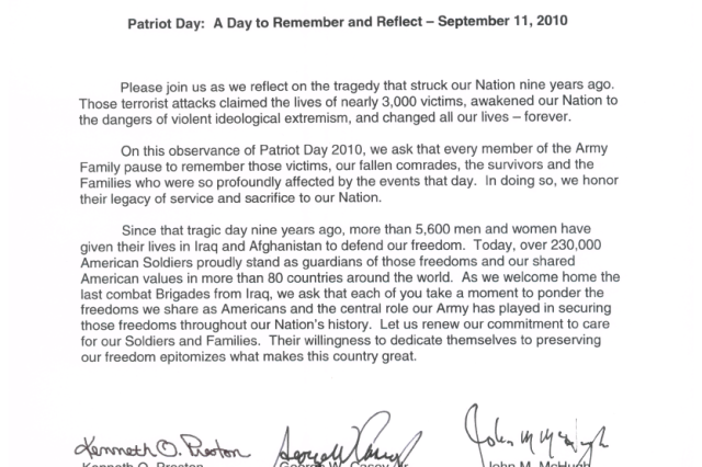 Patriot Day: A Day to Remember and Reflect - Sept. 11, 2010