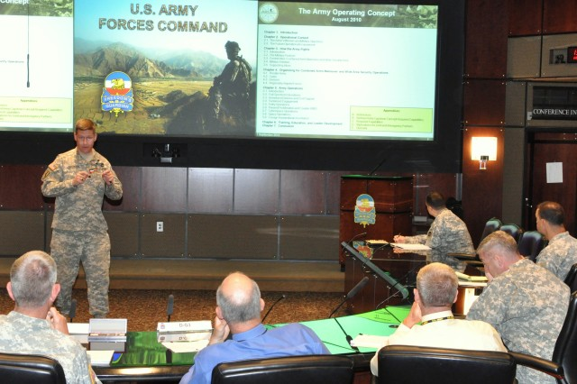 "FORT McPherson, Ga. (Sept. 7, 2010)--Lt. Col. Mark Elfendahl briefed members of U.S. Army Forces Command as part of a ""road show"" to provide information on the new Army Operating Concept developed by U.S. Army Training and Doctrine Command. The AOC describes how the Army will fight in 2016 top 2028. Elfendahl explained how it will guide revisions in army doctrine, organizations, training, material, leadership and education, personnel, and facilities. The FORSCOM attendees, led by Maj. Gen. Mark Graham, FORSCOM G3, listened with interest and asked questions, in particular with regard to how the AOC will affect readiness and Army Force Generation.  Elfendahl is the chief of the Joint and Army Concepts Division at TRADOC'S Army Capabilities Integration Center"