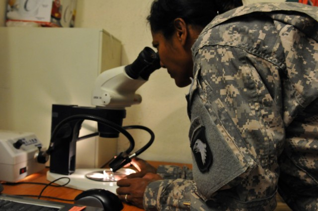 Capt., Susan N. Gosine, the preventive medicine officer in charge with Company C, 426th Brigade Support Battalion, Task Force Bastogne, views bacteria through a microscope at Forward Operating Base Fenty Aug. 31.