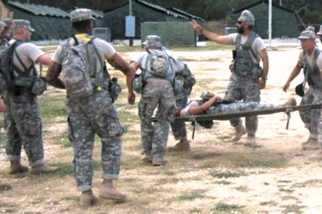 Kalsi (third from right) helps direct triage for a Level 2 mass casualty exercise during his Basic Officer Leadership Course at Camp Bullis.