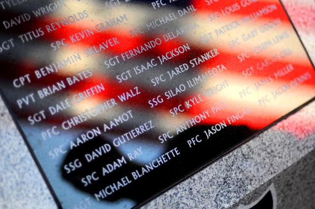 The names of 37 soldiers from 5th Bde., 2nd Inf. Div. killed while serving in Afghanistan are etched on a new monument at Puyallup's Pioneer Park.