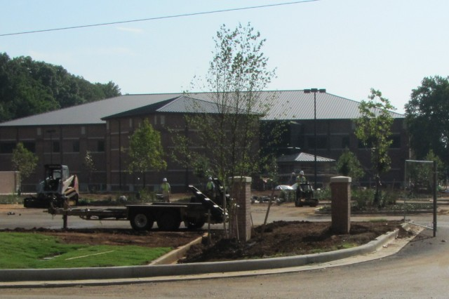 PLANTING FOR FUTURE- Trees, shrubs and grass are freshly planted outside the Alcohol, Tobacco and Firearms National Center for Explosives Training and Research on Patton Road. The $28.5 million, 83,000-square-foot facility is nearing completion.