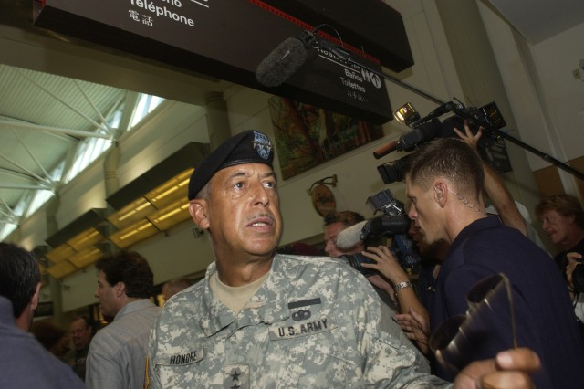Commander of Joint Task Force Katrina, U. S. Army LTG Russel Honore, directs personnel at the airport in New Orleans on September 4, 2005.