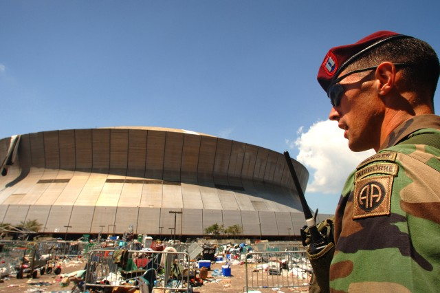 U. S. Army Captain Jesse Stewart of the 3/505 Parachute Infantry Regiment, Fort Bragg, North Carolina, conducts a patrol of the debris ravaged Superdome in New Orleans, Louisiana, September 8, 2005.