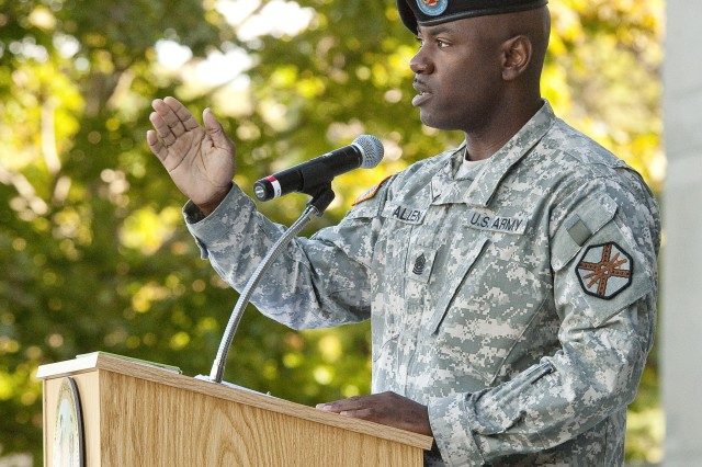 Command Sgt. Earl Allen, the USAG-Natick Command Sergeant Major, was the speaker for the Patriot Day observance at the Natick Soldier Systems Center.