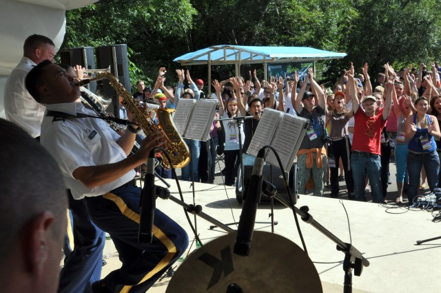 25th ID band performs on Sakhalin Island, Russia at youth camp