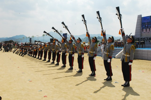 The 2nd Operations Command honor guard platoon performs in the opening ceremony at 60th Anniversary of the Nak-dong River battle at Waegwan, Sept. 3.