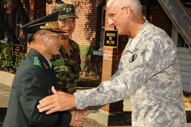 Maj. Gen. Seongwoo Park, commander of the Korea Army Training Center, met with Lt. Gen. Mark P. Hertling, deputy commanding general for Initial Military Training to discuss the initial entry training program on Fort Monroe, Va. last week.