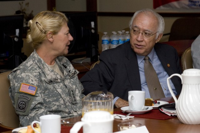 Congressman Solomon P. Ortiz is updated by Gen. Ann E. Dunwoody, Commanding General, Army Materiel Command, during a meeting hosted at Corpus Christi Army Depot, Sept. 9, 2010. (RELEASED)