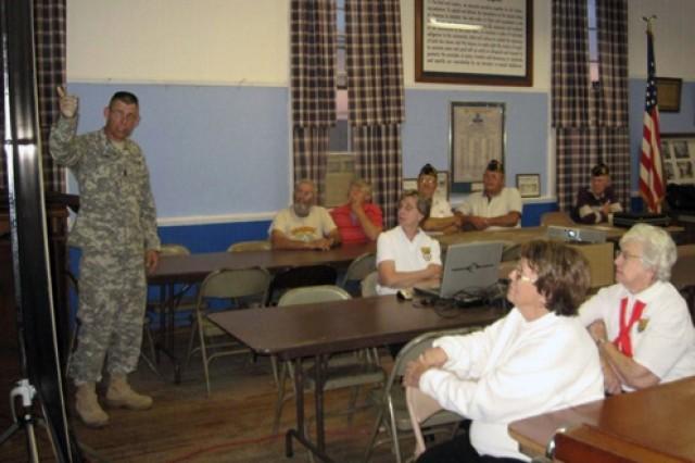 Command Sgt. Maj. Stephen D. Blake, Army Sustainment Command, at American Legion Post 532, Donahue, Iowa.