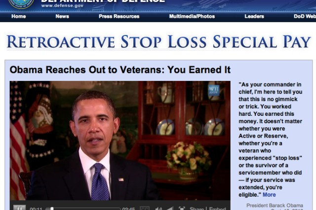 President's new video encourages troops to claim 'stop loss' pay