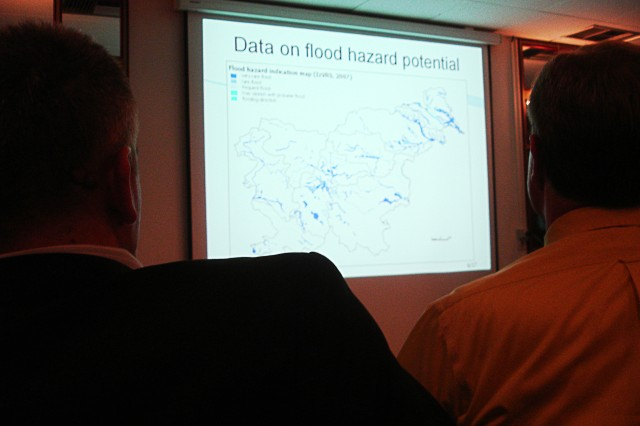 Participants listen to a presentation on the European Union Flood Directive and its transposition into national legislation during the Sava River Flood Mapping Workshop Sept. 8, 2010, hosted by the U.S. Army Corps of Engineers and International Sava River Basin Commission. The workshop aimed at presenting attendees information collected for the Sava River Hydraulic Model project and garnering feedback from participating countries.