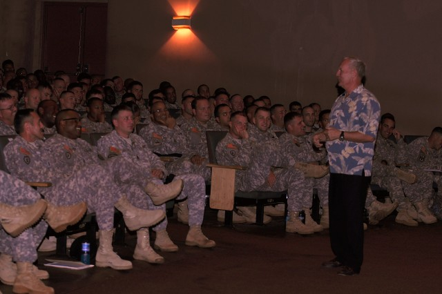 Command Sgt. Maj. (retired) Jimmie Spencer speaks with 25th Infantry Division Noncommissioned Officers during an NCO Personal Development session during his visit to Schofield Barracks, Hawaii, Sept. 14.