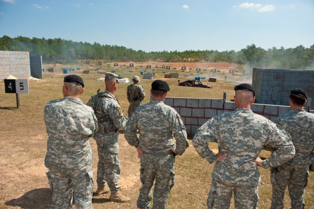 Senior enlisted leaders look at advanced rifle marksmanship initiatives on Fort Benning.