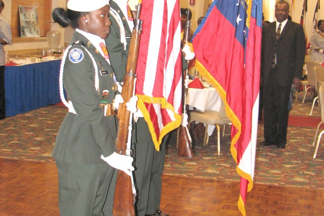 Members of the Junior Reserve Officer Training Corps from the D.M. Therrel High School Education Complex, Atlanta, present the colors during the opening of the Educators Appreciation Reception at The Commons at Fort McPherson Sept. 11. The reception honored the 20 year partnership between Fort McPherson, Fort Gillem, and the area schools.
