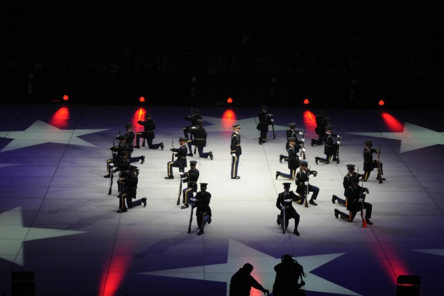 Soldiers from the U.S. Army Drill Team perform during Spirit of America at CONSOL Energy Center in Pittsburgh, Pa.