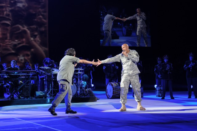 """Soldiers from The U.S. Army Band """"Pershing's Own"""" perform during Spirit of America at CONSOL Energy Center in Pittsburgh, Pa."""