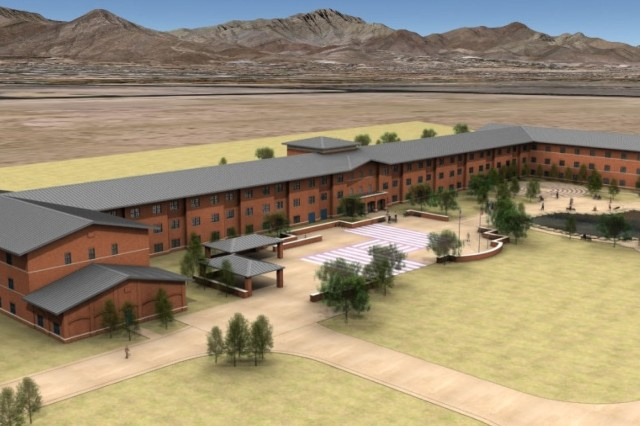 FORT BLISS, Texas -- A computer rendering of the completed Warrior Transition Barracks at Fort Bliss. The Stimulus package-funded project is due to be completed by February 2011.