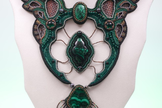 """Tatiana Fitzpatrick took best-of-show honors in the 2010 Army Arts and Crafts Contest with an elaborate """"Stone Flower"""" necklace that topped the accomplished metals and jewelry category."""
