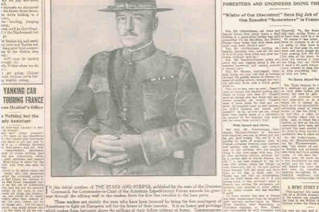 """The front page for the first issue of the World War I version of the Stars and Stripes included a statement from Commander in Chief John J. Pershing that introduced the paper to American Soldiers: """"It is your paper. Good luck to it."""" USAMHI"""