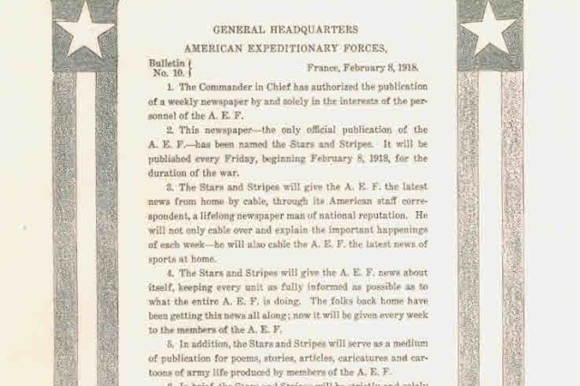 """Bulletin No. 10, from the General Headquarters of the American Expeditionary Forces, dated February 8, 1918, established the U. S. Army newspaper Stars and Stripes, and provided American Soldiers news of home and """"about itself."""" USAMHI"""
