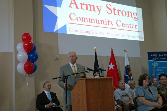 Army Reserve Ambassador Fred Fair explains a little about the Army Reserve Ambassador Program during the grand opening of the Army Strong Community Center at the Tech. Sgt. McGarity U. S. Army Reserve Center in Coraoplis, Pa., Sept. 18.